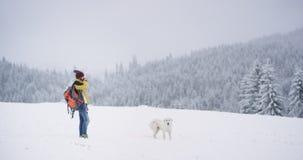 Touriste de jeune homme avec un sac orange au milieu du champ neigeux, marchant ? cot? d'un chien blanc, participation de tourist banque de vidéos
