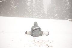 Touriste de surf des neiges Photographie stock