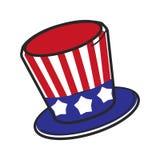Touriste de voyage de symbole de vecteur de chapeau des Etats-Unis Amérique d'Oncle Sam et culture américaine Images libres de droits
