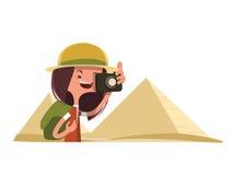 Touriste en Egypte prenant le personnage de dessin animé d'illustration de photos illustration de vecteur