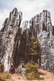 Touriste féminin et formations énormes de chaux de roches photographie stock libre de droits