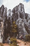 Touriste féminin et formations énormes de chaux de roches photo libre de droits
