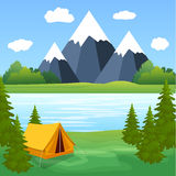 Touriste Forest Mountain Expedition de camping de tente illustration libre de droits