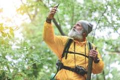 Touriste masculin supérieur songeur à l'aide de son téléphone portable dans la forêt Images stock