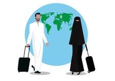 Touriste musulman d'homme et de femme avec le bagage sur le globalbackgroud Photo stock