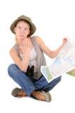 Touriste pensif avec la carte Images stock