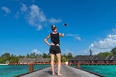 Touriste Selfie de vacances de voyage Femme prenant la photo d'autoportrait images stock