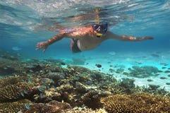 Touriste snokelling sur un récif coralien - Maldives Image stock