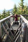 Touriste sur la surveillance de Lipno d'arbres de traînée photos libres de droits