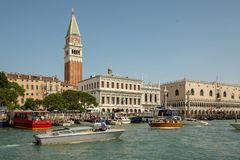 Piazza San Marco in Venice seen from the water stock image