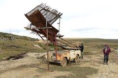Touristen auf einer Goldmine in Tierra del Fuego Stockfoto