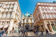 Touristen auf Graben-Straße, eine der berühmtesten Straßen von Wien, Österreich Lizenzfreie Stockfotos