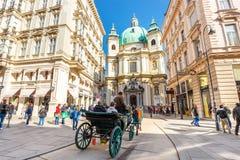 Touristen auf Graben-Straße, eine der berühmtesten Straßen von Wien, Österreich Lizenzfreies Stockbild