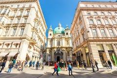 Touristen auf Graben-Straße, eine der berühmtesten Straßen von Wien, Österreich Stockfotos