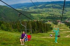 Touristen auf Hymba-Berg Stockbild