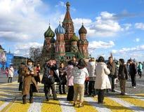 Touristen auf Rotem Platz Stockfotografie