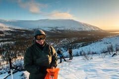 Touristen auf russisch Lappland, Kola Peninsula Stockfotografie