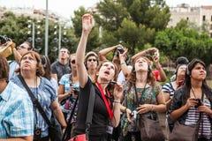 Touristen in Barcelona Stockfotos
