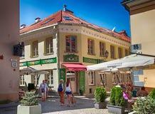Touristen besichtigen die alte Stadt, Vilnius, Litauen Lizenzfreie Stockfotografie