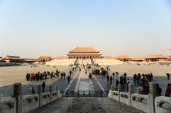 Touristen besichtigen die verbotene Stadt Lizenzfreie Stockfotografie
