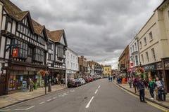 Touristen in der Mitte der Stadt, Stratford nach Avon, William Shakespeare-` s Stadt, West Midlands, England stockbilder