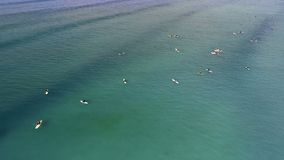 Touristen, die in das Meer 4k surfen stock video