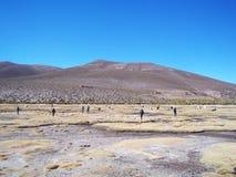 Touristen, die schöne Wüstenlandschaften des bolivianischen altiplano erwägen lizenzfreies stockfoto