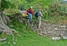 Touristen, die Treppen absteigen Stockbilder