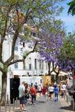 Touristen entlang Einkaufsstraße, Lagos, Portugal Lizenzfreie Stockfotos