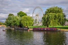 Touristen im Boot, Stratford nach Avon, William Shakespeare-` s Stadt, West Midlands, England stockbild