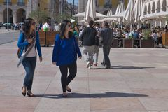 Touristen in Lissabon Stockfoto