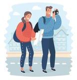 Touristen mit Karte und Kamera vektor abbildung