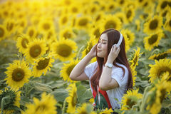 Touristen mit Sonnenblume stockfoto