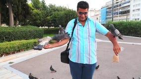Touristen mit Tauben, Paris stock video