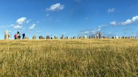 Touristenbesuchsbereich von Ales Stenar Stockfotos