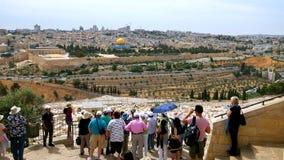 Touristenblick auf die alte Stadt Jerusalems Stockfotos