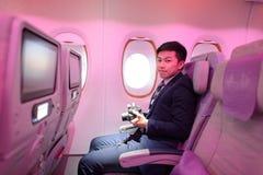 Touristenklassepassagier Emirat-Airbusses A380 Stockfoto