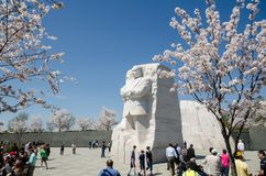 Touristenmengenversammlung um das MLK-jr. Denkmal während Cherry Blossom Festivals im Washington DC stockfoto
