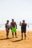 Touristenufer des Toten Meers Stockfoto