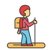 Tourister, traveler, backpacker concept. Line vector icon. Editable stroke. Flat linear illustration isolated on white background Stock Photos