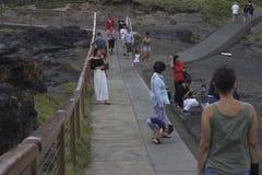 Touristes à la soufflure de Kiama sur le point de soufflure photographie stock libre de droits