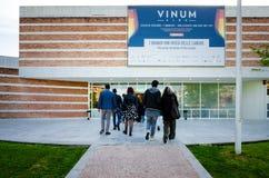 Touristes allant à Vinum en Alba Piedmont, Italie Photographie stock