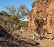 Touristes au site indigène de gravure de gorge de chambres. Australie du sud. photographie stock libre de droits