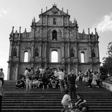 Touristes aux ruines de rue Paul, Macao, Chine Photographie stock libre de droits