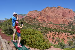 Touristes chez Zion National Park Image stock