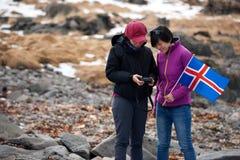 Touristes d'hiver de l'Islande Photographie stock