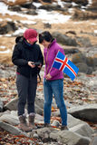 Touristes d'hiver de l'Islande Image libre de droits
