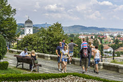 Touristes dans la citadelle de Sighisoara, Roumanie Images libres de droits