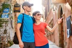 Touristes dans la vieille ville Image stock