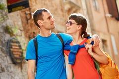 Touristes dans la vieille ville Images libres de droits